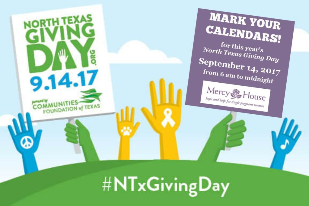 Your gifts are multiplied on North Texas Giving Day! Donate on September 14 from 6 am to midnight or schedule your giving starting 9-7-17.