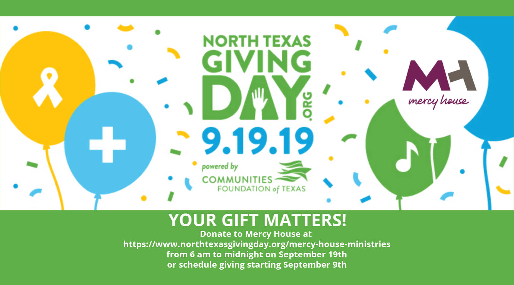 Mercy House is participating in the 2019 North Texas Giving Day on 9-19-19
