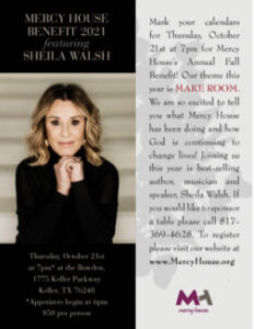 Mercy House Benefit with featured Sheila Walsh