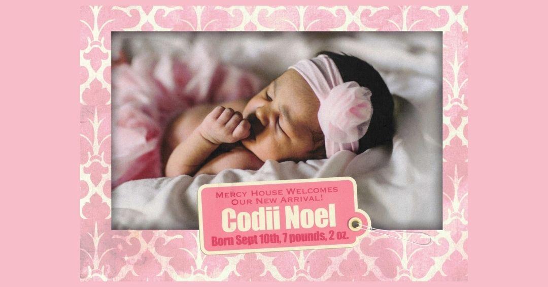 Birth announcement of Codii Noel